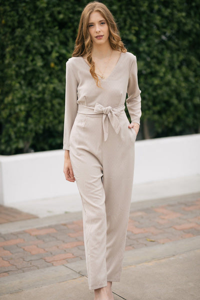 Trina V-Neck Jumpsuit Jumpsuits Lush Taupe Small