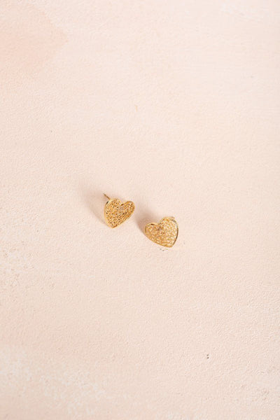 Vivian Gold Dipped Heart Earrings Earrings ANA Gold