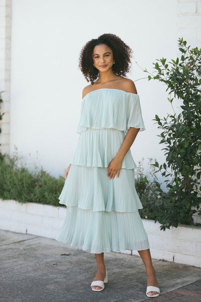 Vera Pleated Ruffle Dress Dresses JUST ME Opal Blue X-Small