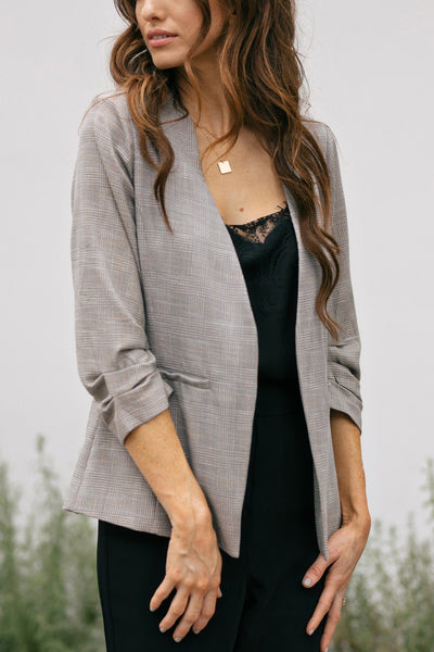 Janet 3/4 Sleeve Plaid Blazer Outerwear Skies are Blue Taupe-Plaid Extra Small