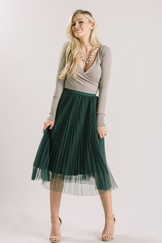 Petite Vienna Green Pleated Tulle Midi Skirt
