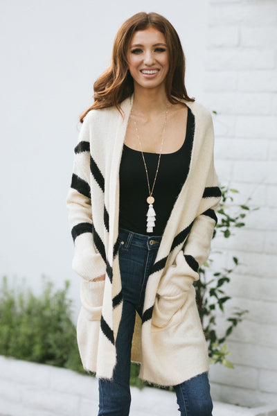 Jess Chevron Long Cardigan Sweaters LUSH Cream/Black Small