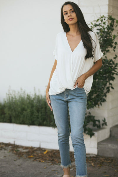 Elliot Crepe Surplice Top Tops HYFVE Off White Small