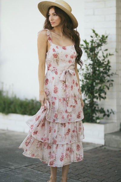 Claire Floral Tiered Cami Dress Dresses Storia Blush Floral Small