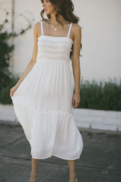 Raya Smocked Cami Midi Dress Tops Lush Off White Small