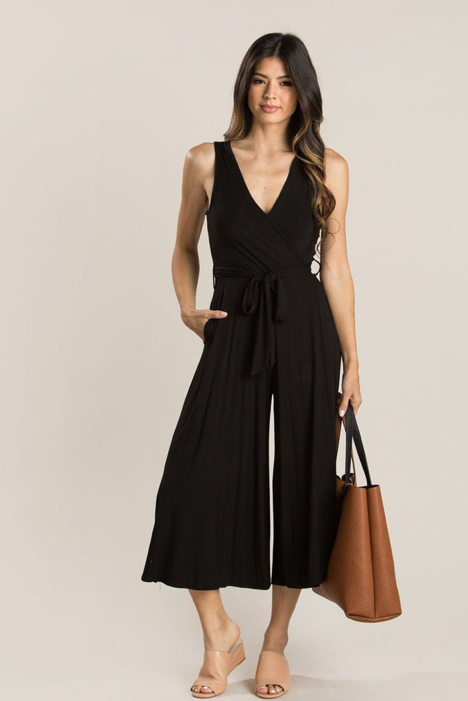 Edith Black V-Neck Jumpsuit Jumpsuits Final Touch