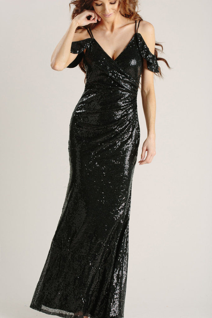 Serena Black Sequin Maxi Dress