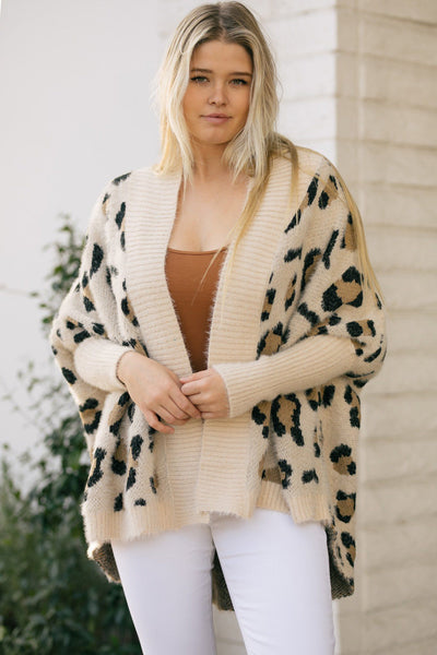 Christine Animal Print Cardigan Sweaters Very J Cream Small