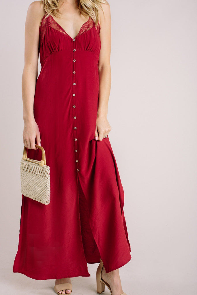 Helena Red Slip Maxi Dress Dresses Lovestitch