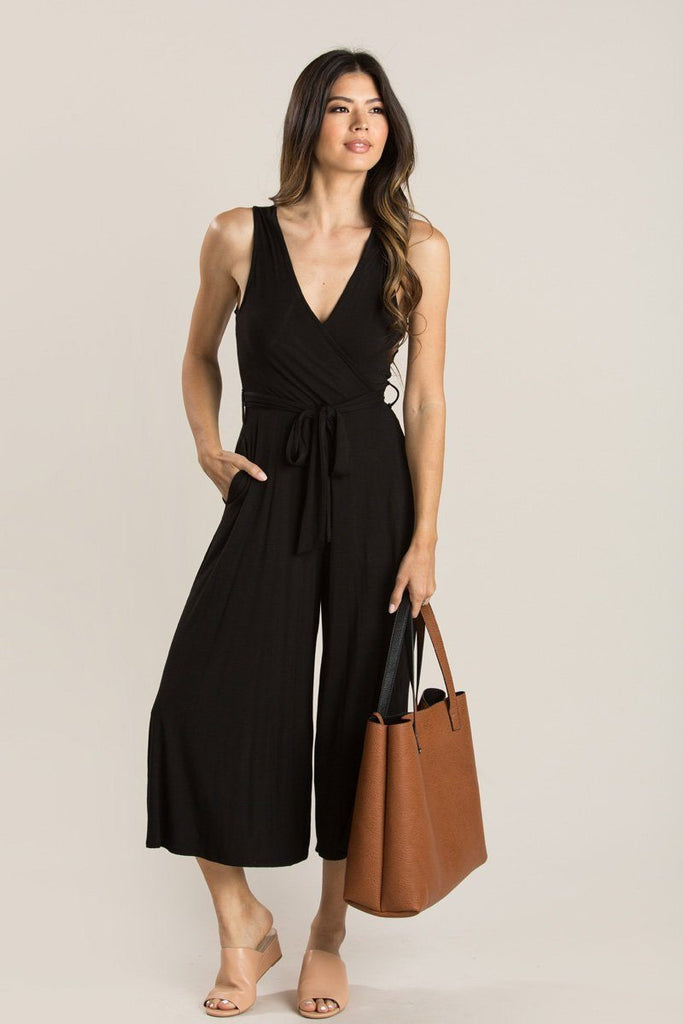 Edith Black V-Neck Jumpsuit Jumpsuits Final Touch Black Small