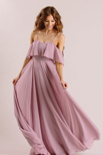 Adele Ruffle Maxi Dress Dresses INA Lavender X-Small