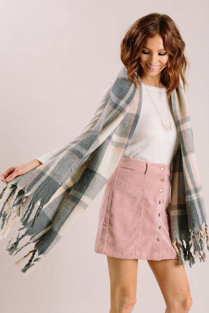 Misty Peach/Grey Plaid Scarf Scarves JOIA
