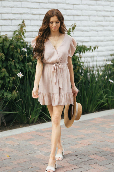 Harriet Puff Sleeve Mini Dress Dresses Hyfve Dusty Blush Small