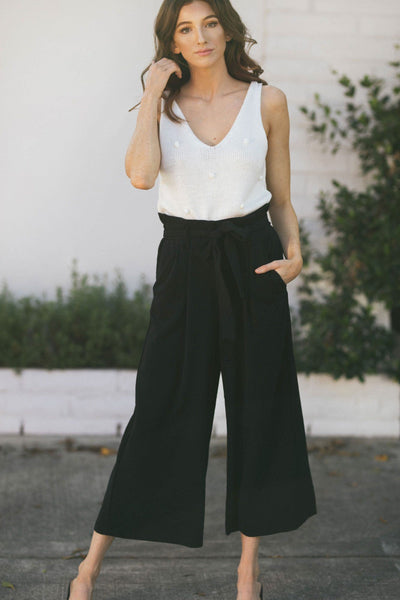 Julianne High Waist Textured Pants Pants LUSH Black Small