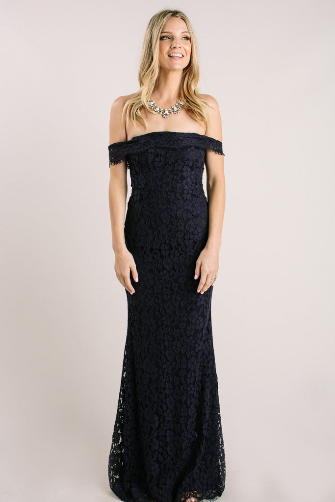 Delilah Navy Off the Shoulder Lace Maxi Dress Dresses Just Me