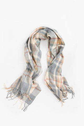 Charlene Grey and Peach Plaid Scarf