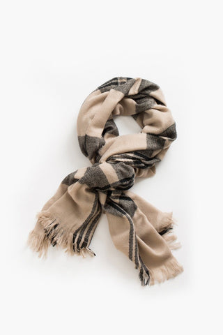 Hannah Beige Plaid Knitted Scarf