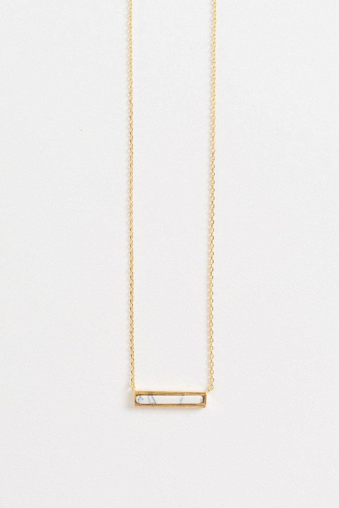 Alina Marble Bar Dainty Gold Necklace Necklaces Morning Lavender