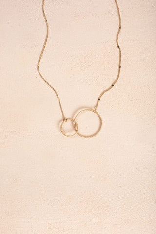 Maddy Double Circle Gold Necklace Necklaces Ana Gold