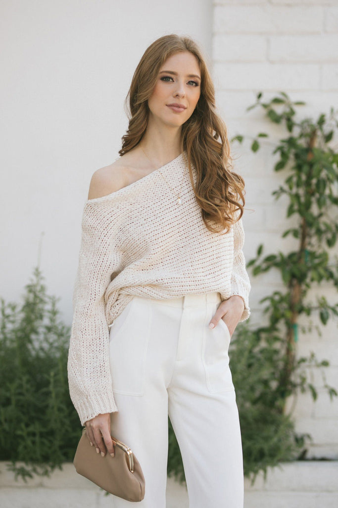 Avery Boat Neck Knit Sweater Sweaters Aakaa Cream Small