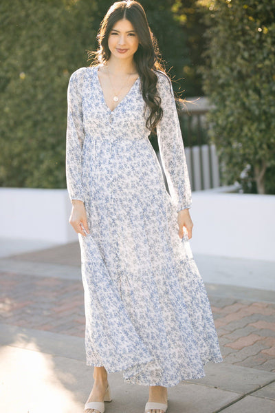 Monica Long Sleeve Floral Maxi Dress Dresses Sugarlips White-Blue X-Small
