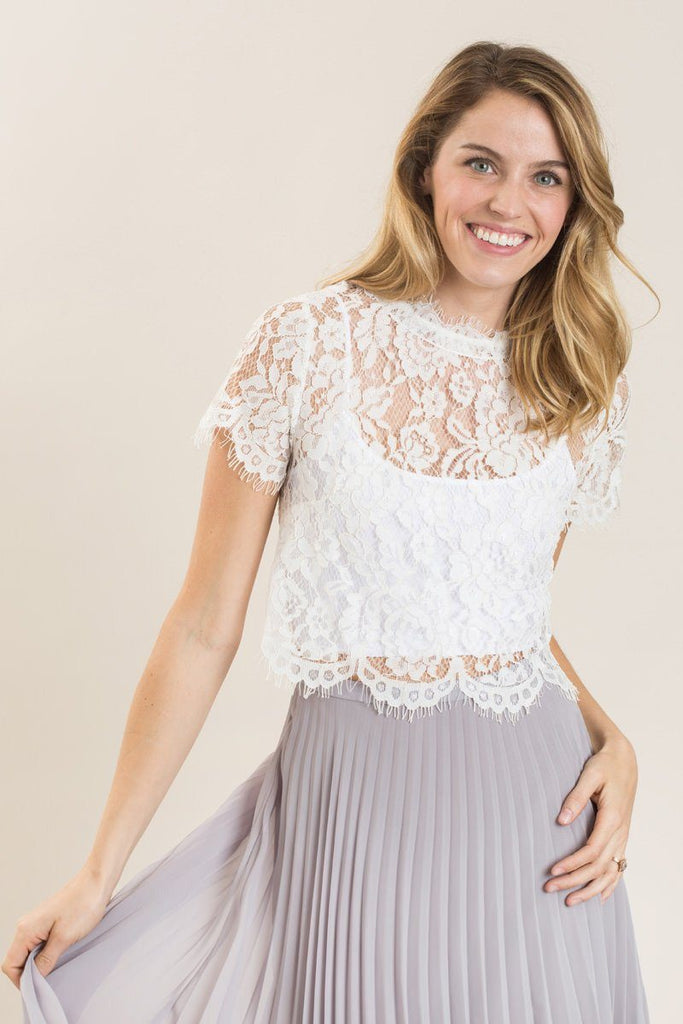 Shirley White Lace Capsleeve Top Tops A.Peach