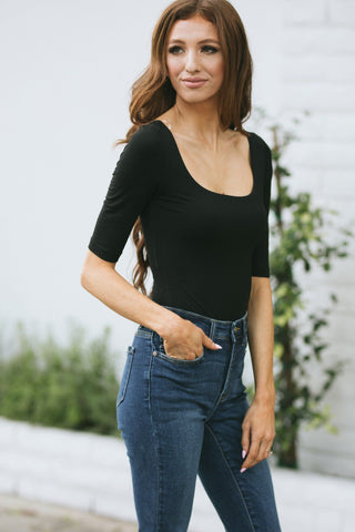 Jane Half Sleeve Bodysuit Tops Final Touch Black Small