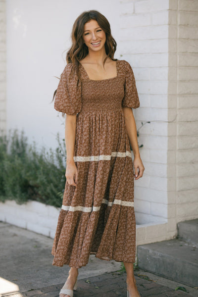 Heidi Puff Sleeve Square Neck Dress Dresses In Loom Earthen Small