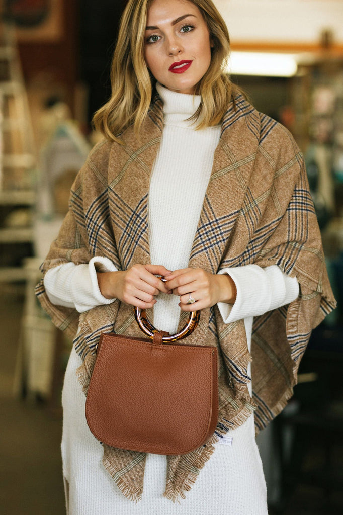 Cristiana Camel Plaid Scarf Scarves Joia Camel