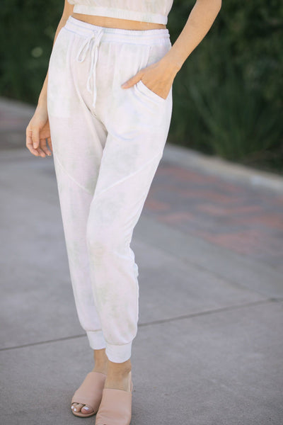 Dawn Tie-Dye Joggers Pants Le Lis White-Sage Small