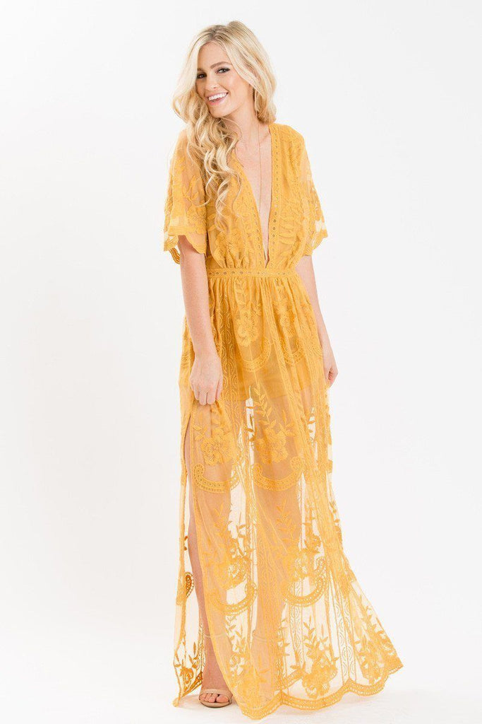 Mila Lace Maxi Jumpsuit Dresses Honey Punch Gold Small