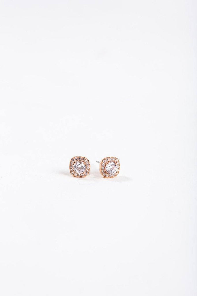 Tawny Rose Gold Crystal Studs