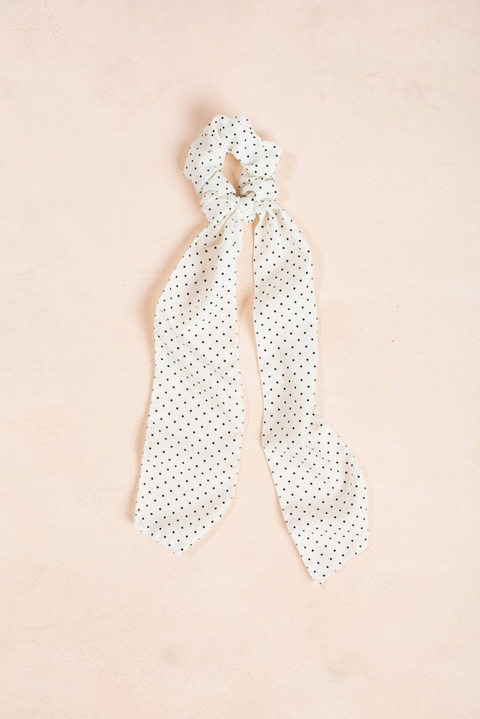 Quinn Mini Polka Dot Ribbon Scrunchie Hair Fame White