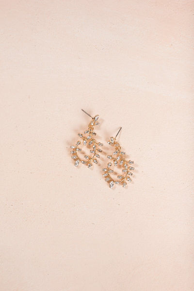 Cadence Crystal Vine Statement Earrings Earrings Ana Gold