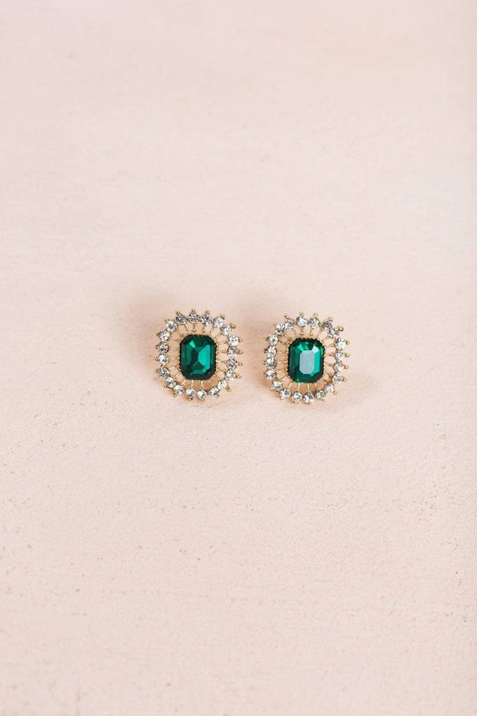 Simone Emerald Crystal Earrings Earrings Ana Emerald