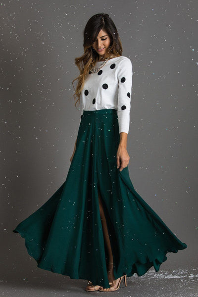 Rosalie Flowy Maxi Skirt Skirts Lucy Paris Green X-Small