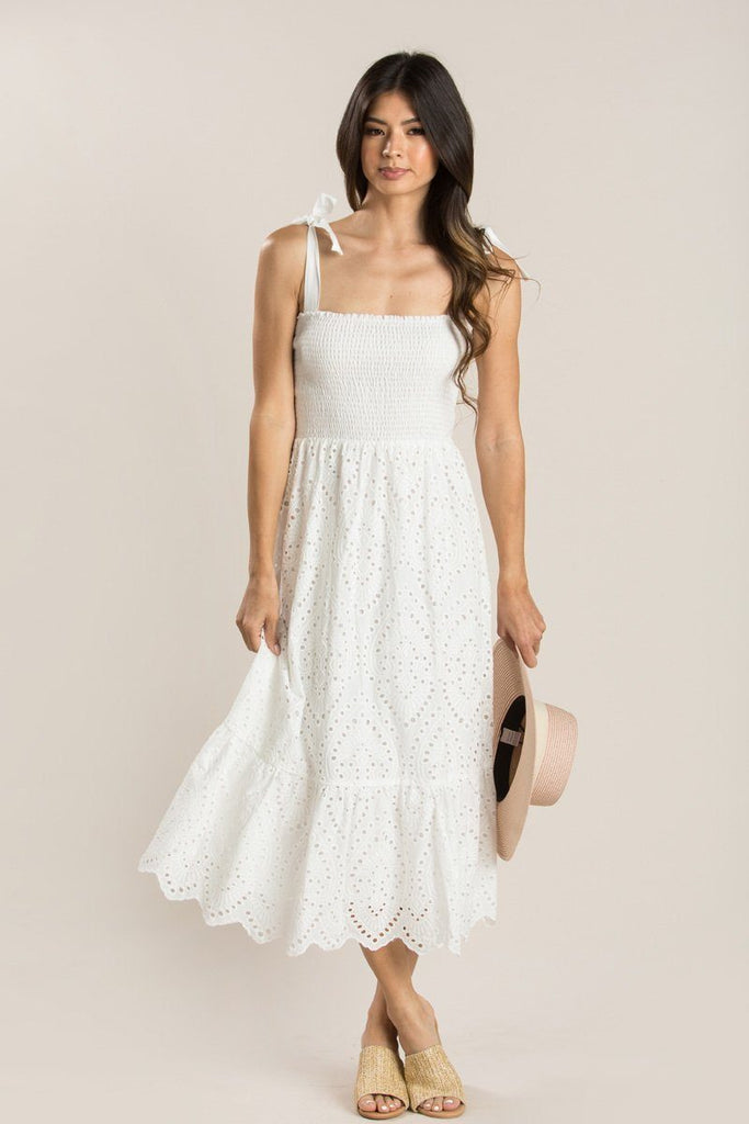 Talia White Smocked Eyelet Maxi Dress Dresses Everly White Small