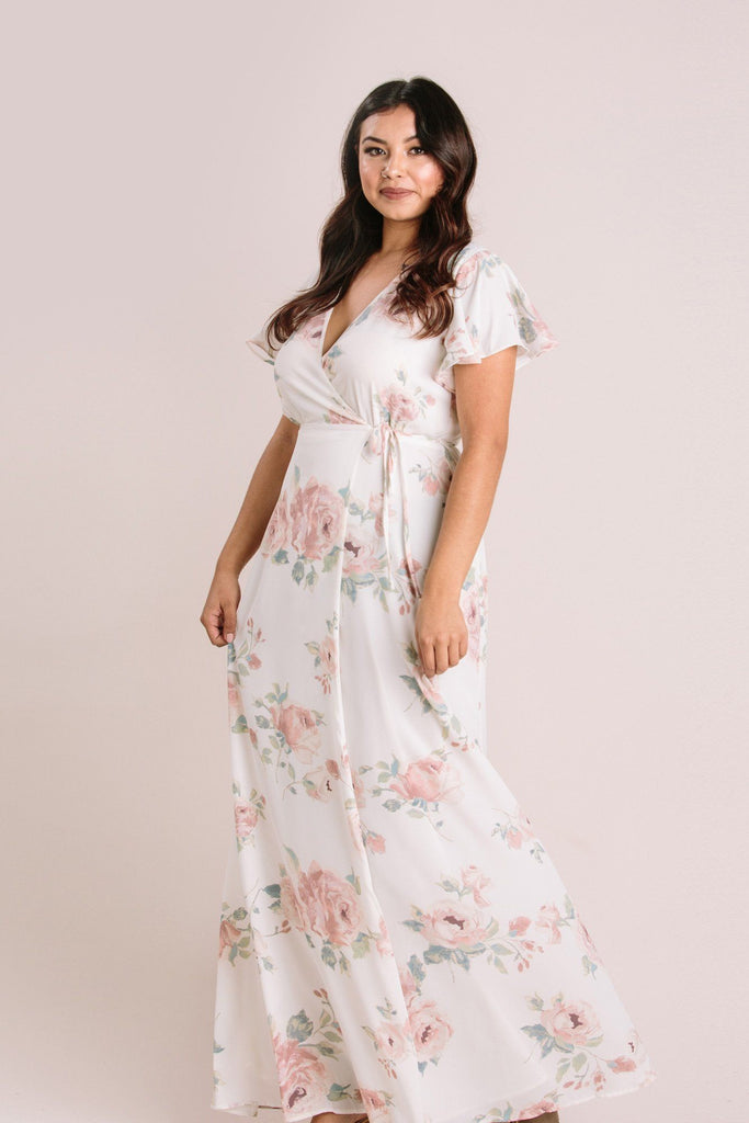 Petite Charlotte Floral Wrap Maxi Dress Dresses Everly Ivory LP