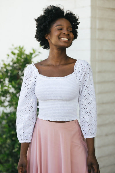 Lexi Eyelet Cropped Top Tops Style Melody White Small
