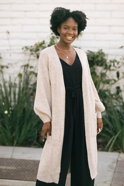 Gracie Heathered Longline Cardigan Sweaters Crescent Oatmeal Small