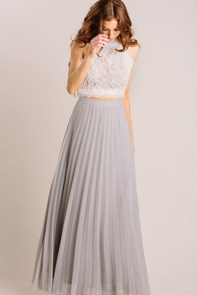 Simone Pleated Maxi Skirt Skirts Aakaa Grey X-Small