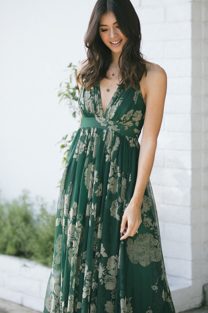 Estee Velvet Floral Maxi Dress Dresses Luxxel Hunter Green Small