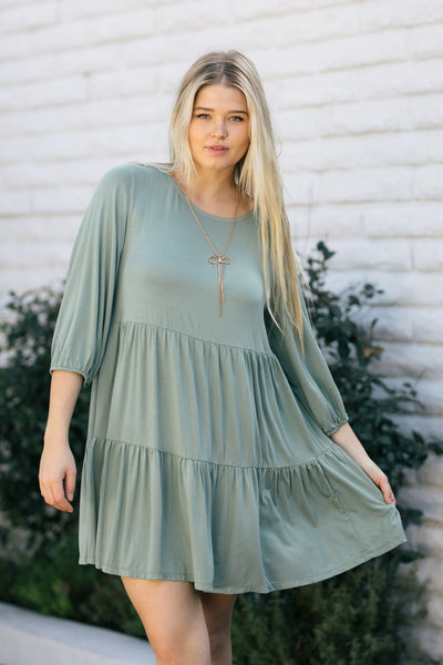Annie Tiered Mini Dress Dresses She & Sky Slate Green Small
