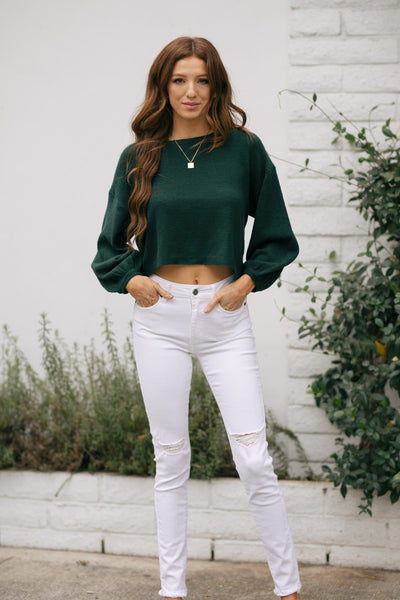 Agatha Puff Sleeve Cropped Sweater Sweaters Dress Forum Hunter Green Small