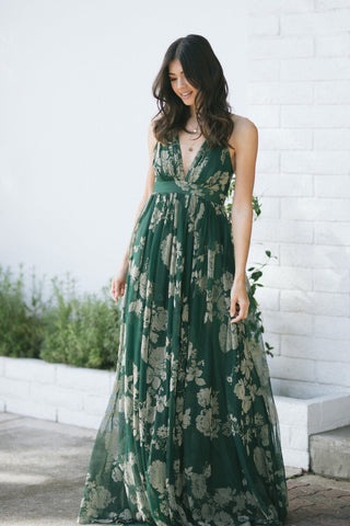 Estee Velvet Floral Maxi Dress Dresses Luxxel