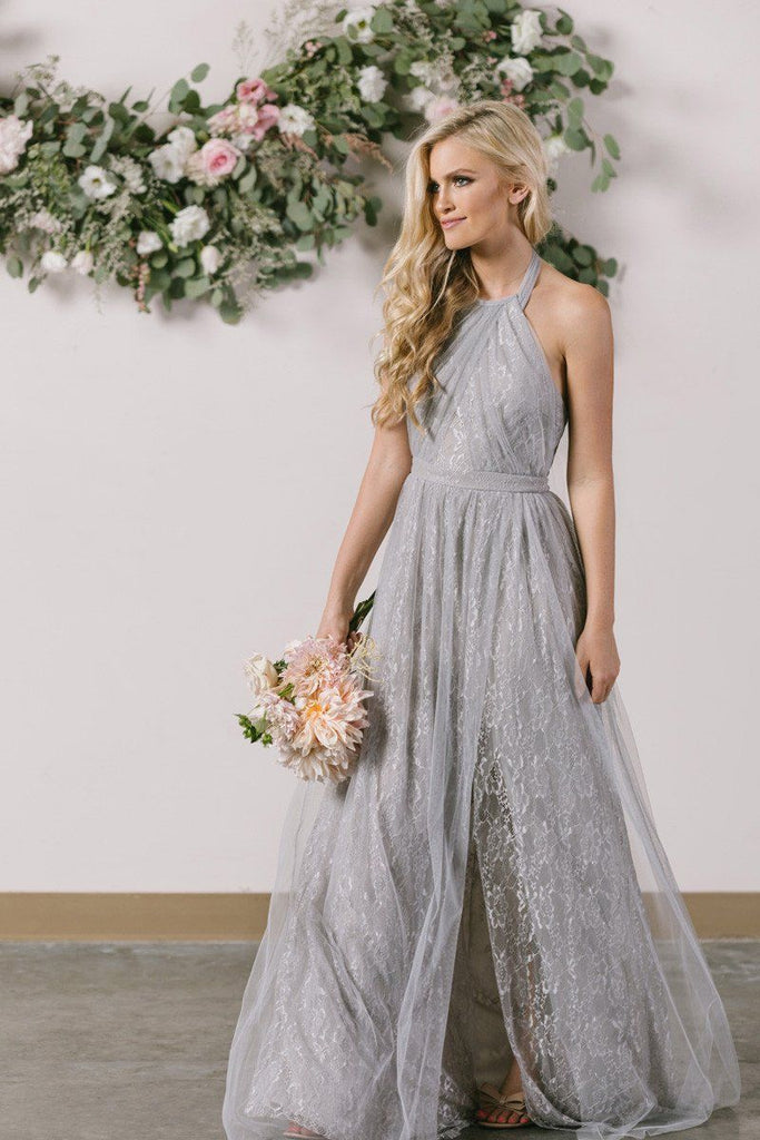 Isabelle Grey Tulle Lace Halter Maxi Dress Morning Lavender
