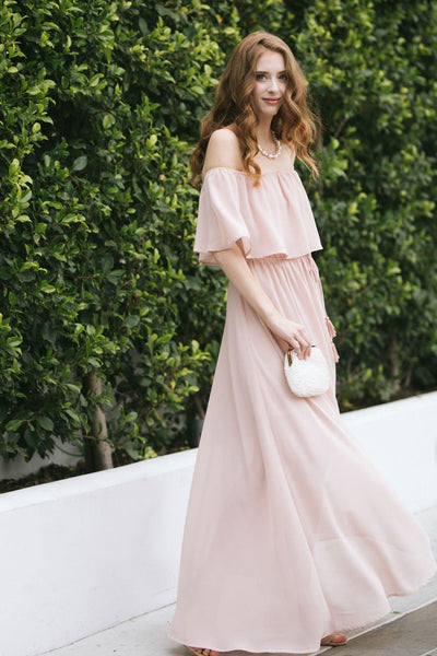 Alina Off the Shoulder Maxi Dress Dresses Aakaa Light Blush Small