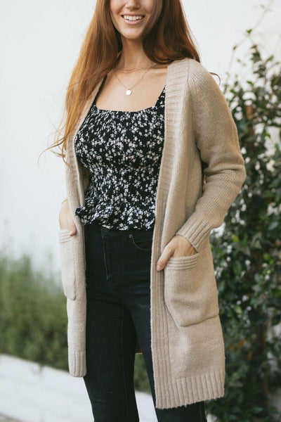 Adalyn Long Knit Cardigan Sweaters Dreamers Taupe Small