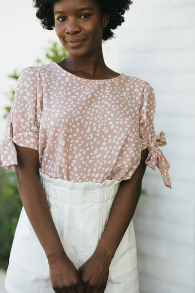 Avery Bow Sleeve Blouse Tops Vine & Love Blush Small