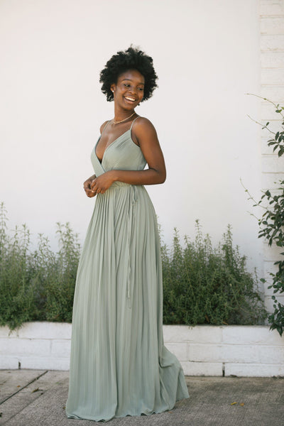 Holly Pleated Wrap Maxi Dress Dresses Soieblu Dusty Sage Small